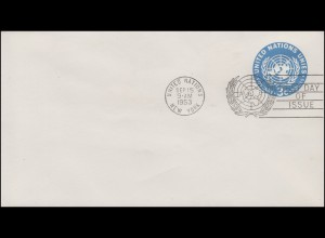 UNO New York Umschlag U 1A UNO-Emblem 3 Cent 1953, 172x95, FDC 15.9.1953