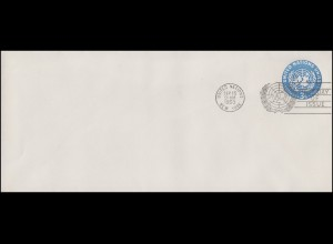 UNO New York Umschlag U 1C UNO-Emblem 3 Cent 1953, 242x105, FDC 15.9.1953