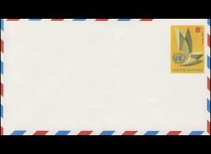 UNO New York Luftpostumschlag LU 2A Flügel 8 Cent 1963, 165x93, ungebraucht **