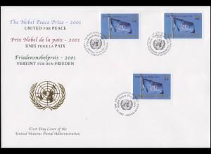 UNO Trio-FDC 71 Verleihung des Friedensnobelpreises 2001 an die UNO 10.12.2001