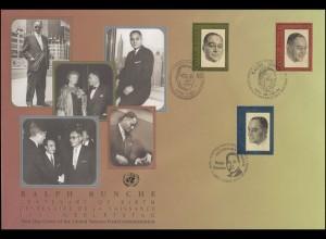 UNO Trio-FDC 82 Jubiläum 100. Geburtstag von Ralph Bunche 7.8.2003