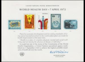 UNO Erinnerungskarte EK 1 Weltgesundheitstag 1972, ungebraucht **
