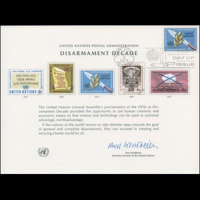 UNO Erinnerungskarte EK 3 Abrüstungsdekade 1973, NY-FDC 9.3.1973