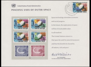 UNO Erinnerungskarte EK 7 Weltraum 1975, Genf-FDC 14.3.1975