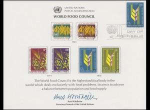 UNO Erinnerungskarte EK 10 Welternährungsrat (WFC) 1976, NY-FDC 19.11.1976