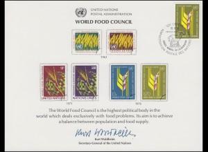 UNO Erinnerungskarte EK 10 Welternährungsrat (WFC) 1976, Genf-FDC 19.11.1976