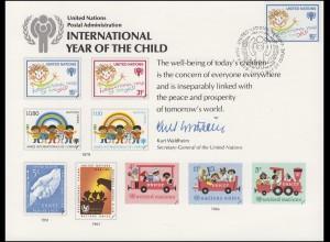 UNO Erinnerungskarte EK 15 Jahr des Kindes 1979, NY-FDC 4.5.1979
