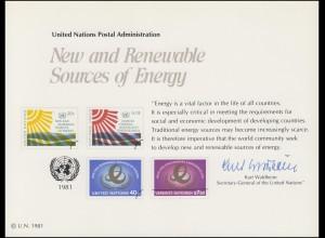 UNO Erinnerungskarte EK 20 Erneuerbare Energiequellen 1981, ungebraucht **