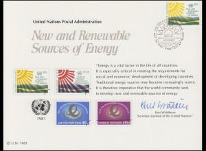UNO Erinnerungskarte EK 20 Erneuerbare Energiequellen 1981, NY-FDC 29.5.1981