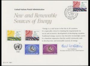 UNO Erinnerungskarte EK 20 Erneuerbare Energiequellen 1981, Genf-FDC 29.5.1981