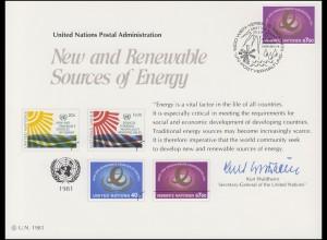 UNO Erinnerungskarte EK 20 Erneuerbare Energiequellen 1981, Wien-FDC 29.5.1981