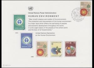 UNO Erinnerungskarte EK 21 Umweltschutz 1982, NY-FDC 19.3.1982