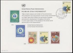UNO Erinnerungskarte EK 21 Umweltschutz 1982, Genf-FDC 19.3.1982
