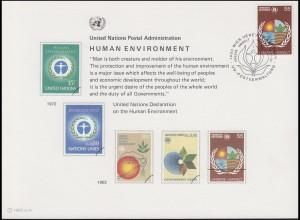 UNO Erinnerungskarte EK 21 Umweltschutz 1982, Wien-FDC 19.3.1982