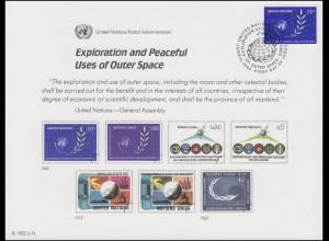 UNO Erinnerungskarte EK 22 Weltraum 1982, NY-FDC 11.6.1982