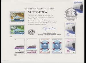 UNO Erinnerungskarte EK 23 Sicherheit auf See 1983, NY-FDC 18.3.1983