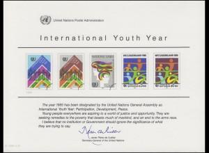 UNO Erinnerungskarte EK 26 Jahr der Jugend 1984, ungebraucht **