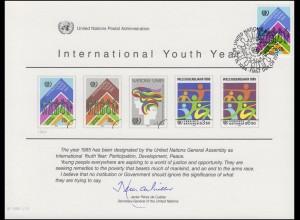 UNO Erinnerungskarte EK 26 Jahr der Jugend 1984, NY-FDC 15.11.1984