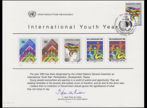 UNO Erinnerungskarte EK 26 Jahr der Jugend 1984, Genf-FDC 15.11.1984