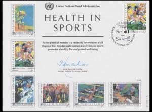 UNO Erinnerungskarte EK 34 Gesundheit durch Sport 1988, Genf-FDC 17.6.1988