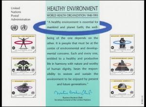 UNO Erinnerungskarte EK 43 WHO und Umwelt 1993, ungebraucht **