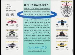 UNO Erinnerungskarte EK 43 WHO und Umwelt 1993, NY-FDC 7.5.1993