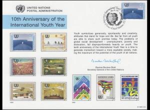 UNO Erinnerungskarte EK 48 Jahr der Jugend 1995, NY-FDC 26.5.1995