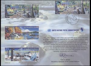 UNO Erinnerungskarte EK 58 Jahr des Süßwassers 2003, NY-FDCD 20.6.2003