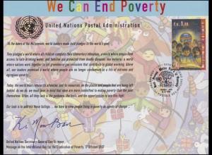 UNO Erinnerungskarte EK 63 Beseitigung der Armut 2008, Genf-FDC 18.9.2008