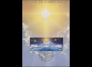 MK 7 von UNO New York 633-634 Weltraumjahr 1992, amtliche Maximumkarte