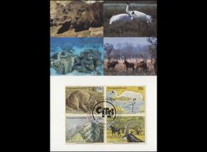 MK 16 von UNO New York 644-647 Gefährdete Arten Fauna 1993, amtl. Maximumkarte