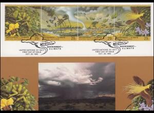 MK 19 von UNO New York 657-660 Klimaveränderungen 1993, amtliche Maximumkarte
