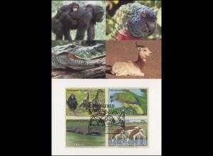 MK 22 von UNO New York 663-666 Gefährdete Arten Fauna 1994, amtl. Maximumkarte