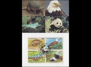 MK 29 von UNO New York 681-684 Gefährdete Arten Fauna 1995, amtl. Maximumkarte