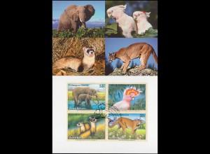 MK 47 von UNO New York 732-735 Gefährdete Arten Fauna 1997, amtl. Maximumkarte