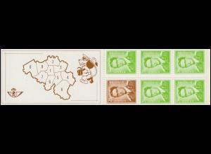 Belgien-Markenheftchen 21 König Baudouin 20 Franc 1970, mit Zählbalken **