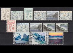 7-20 Dänemark-Färöer Jahrgang 1975 komplett, ** postfrisch