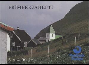 Färöer-Inseln Markenheftchen 6 NORDEN Touristische Attraktionen, ESSt 5.4.1993