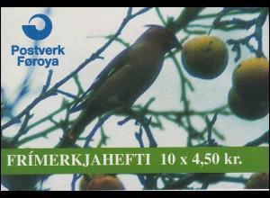 Färöer-Inseln Markenheftchen 11 Invasionsvögel Birds 1996, ** postfrisch