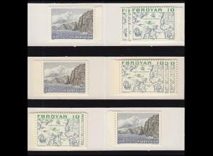 Färöer-Inseln Markenheftchen mit Freimarken: Set mit 3 Klebevarianten, **