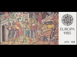 Griechenland Markenheftchen 4 Europa 1985, Ersttagsstempel ATHEN 29.4.85