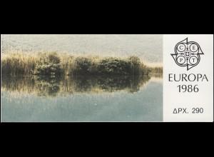 Griechenland Markenheftchen 5 Europa 1986, Ersttagsstempel ATHEN 23.4.86