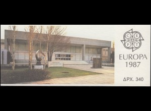 Griechenland Markenheftchen 6 Europa 1987, Ersttagstempel ATHEN 4.5.87