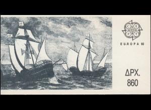 Griechenland Markenheftchen 15 Europa 1992, ** postfrisch
