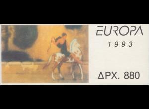 Griechenland Markenheftchen 16 Europa 1993, ** postfrisch