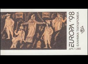 Griechenland Markenheftchen 21 Europa 1998, ** postfrisch