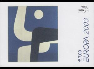 Griechenland Markenheftchen 25 Europa 2003, ** postfrisch
