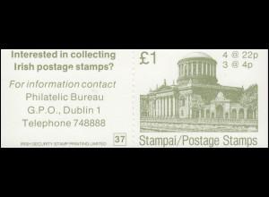 Irland-Markenheftchen 6 Architektur 1983, ** postfrisch