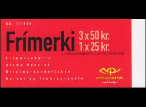 Island Markenheftchen 11 Fahrzeuge Dampflok (Nr 1/1999), ** postfrisch