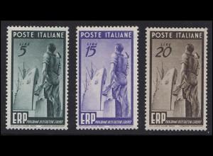 774-776 Marshall-Plan 1949 ERP Italien, Satz postfrisch ** / MNH